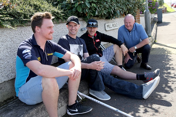 PACEMAKER, BELFAST, 15/8/2016: Event Director Mervyn Whyte with Nico Mawhinney, Ryan Farquhar and Ben Wilson on their return to the Vauxhall International North West 200 circuit following their crashes in 2016. PICTURE BY STEPHEN DAVISON