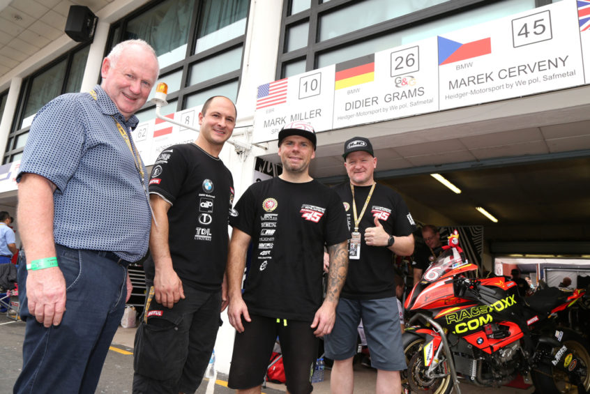 PACEMAKER, BELFAST, 2016: Vauxhall InterNational North West 200 Event Director Mervyn Whyte pictured with Didier Grams, Marek Cerveny and Team Heidger-Motorsport boss, Frankie Heidger at the Macau Grand Prix in November where he agreed terms for the German team to race at the 2017 NW200. PICTURE BY STEPHEN DAVISON