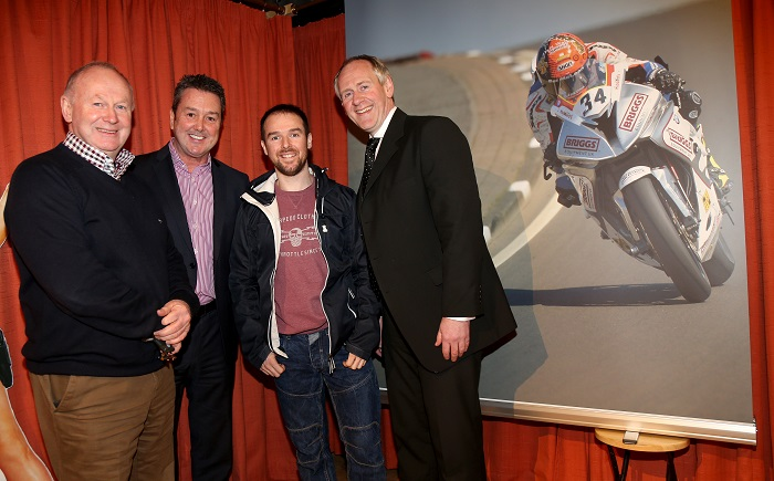 PACEMAKER, BELFAST, 4/1/2017: Alastair Seeley pictured at a special preview of the documentary 'Alastair Seeley- My NW200 Wins' by Colin Thompson in Helen's Bay with Mervyn Whyte, Vauxhall International NW200 Event Director, Gordon Hannen, Vauxhall and Paul McLean of Bet McLean, race sponsor. PICTURE BY STEPHEN DAVISON