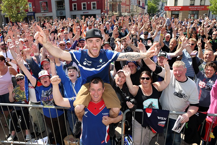 PACEMAKER, BELFAST, 13/5/2016: North West 200 stars John McGuinness and Lee Johnston entertained a huge crowd in Coleraine town centre at the annual Meet the Riders event today. Both McGuinness and Johnston will compete in tomorrow's races with roads closing at 9.30 am. PICTURE BY STEPHEN DAVISON