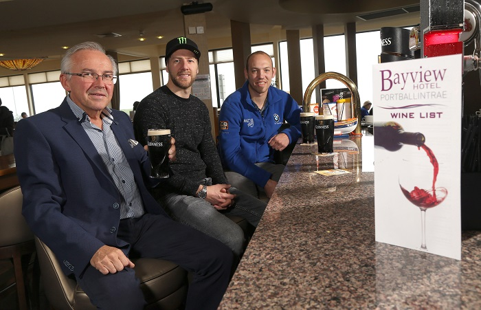 PACEMAKER, BELFAST, 2017: Trevor Kane of the Bayview Hotel, Portballintrae pictures with road racers Ian Hutchinson and Peter Hickman. The Bayview Hotel will be the sponsors of this year's Thursday evening Superstock race at the Vauxhall International North West 200. PICTURE BY STEPHEN DAVISON