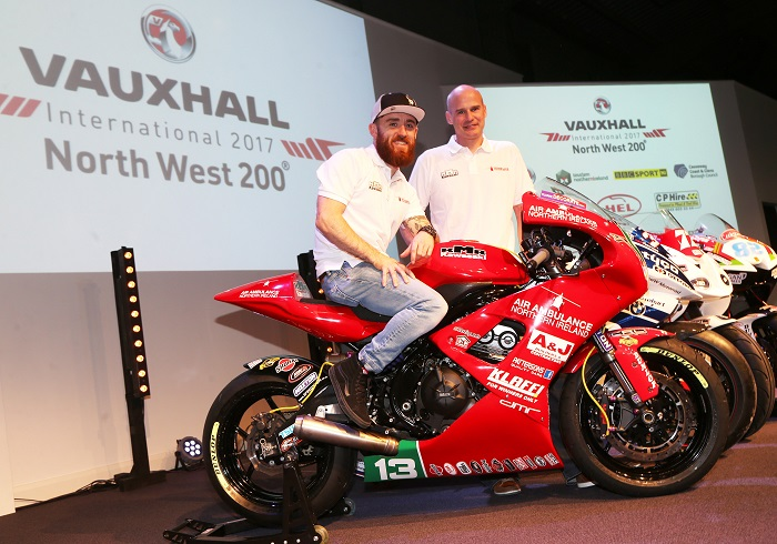 PACEMAKER, BELFAST, 15/3/2017: Lee Johnston will race Ryan Farquhar's NI Air Ambulance liveried Kawasaki Supertwin at this year's Vauxhall International North West 200 on May 7-13 races. Farquhar unveiled the new bike at the launch of the event in Coleraine today. PICTURE BY STEPHEN DAVISON