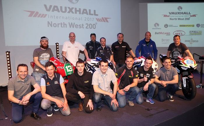 PACEMAKER, BELFAST, 15/3/2017: Current and former stars and newcomers of the Vauxhall International North West 200 picture at the launch event in Coleraine on Wednesday night. Included are (Back row) Lee Johnston, Ryan Farquhar,  Ian Hutchinson, Alastair Seeley, Michael Rutter, Peter Hickman and John McGuinness. (Front row) Steve Plater, Phil Stead, Chris Green, Barry Furber, Mark Perslow, Hudson Kennaugh and Dominic Herbertson.  PICTURE BY STEPHEN DAVISON
