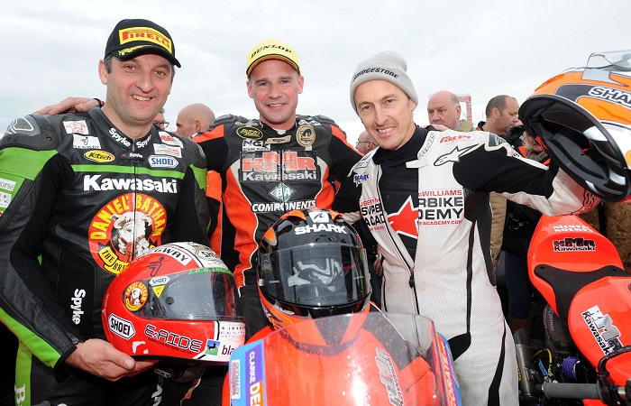 PACEMAKER, BELFAST, 17/5/2012:   Michael Rutter with Ryan Farquhar and Jeremy McWilliams at the 2012 Vauxhall International North West 200 when Rutter finished third behind Farquhar riding for the Dungannon man's KMR Kawasaki team which he will rejoin at this year's event for the Supertwin races. PICTURE BY STEPHEN DAVISON